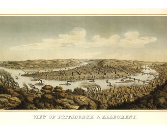 1874 Map of Pittsburgh Pennsylvania - Old Maps and Prints - Vintage Wall Art - Antique Birds Eye City Map - Perspective View - Historic Map