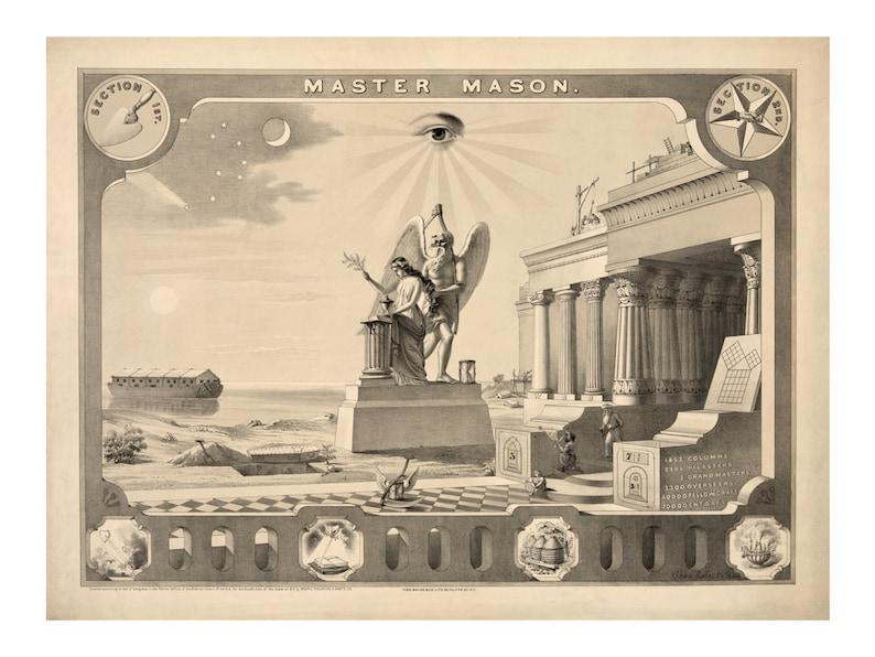 Master Mason Vintage Art Print - Masonic Symbols - Brotherhood - Victorian  Antique Masonic Gift - 1800's Americana - Secret Society