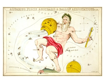 Aquarius Vintage Zodiac Astrological Art Print - Astronomy Astrology Horoscope Art - Celestial Constellation Chart - Old Maps and Prints