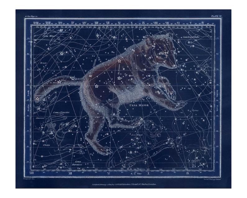 Vintage Ursa Major Constellation Celestial Map  Astronomy image 0