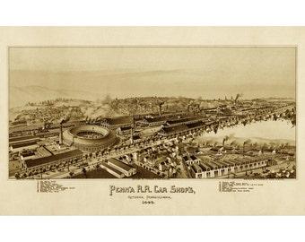 1895 Altoona Pennsylvania Railroad - Old Maps and Prints - Vintage Art Print - Antique Wall Art - Railroad Map Art - Historic Americana
