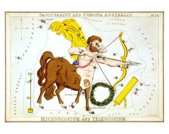 Sagittarius Vintage Zodiac Astrological Art Print - Astronomy Astrology Horoscope Art - Celestial Constellation Chart - Old Maps and Prints