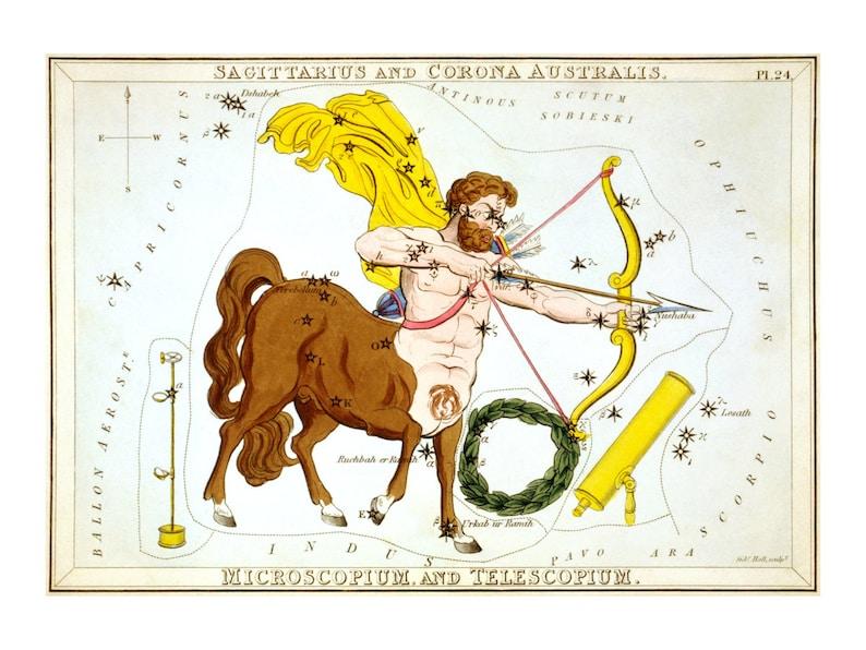 Sagittarius Vintage Zodiac Astrological Art Print  Astronomy image 0