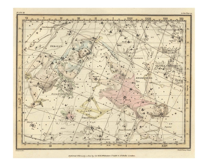 Vintage Perseus Andromeda Constellation Celestial Map  image 0