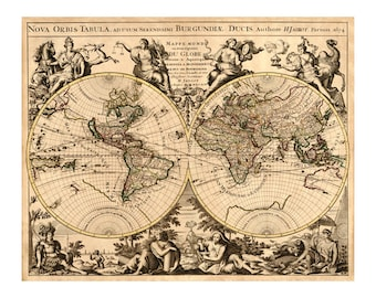 Jaillot Map of the World - Antique World Map Wall Decor - Restoration Style - Vintage Map Print - Old Maps and Prints - Engraving Art Giclee