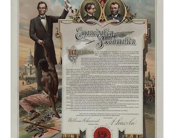 Abraham Lincoln Emancipation Proclamation - Vintage Art Print - Victorian Antique Document - History Poster - Slavery - Paper Ephemera