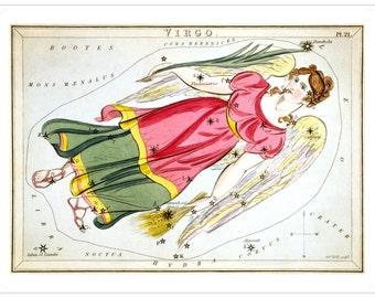 Virgo Vintage Zodiac Astrological Art Print