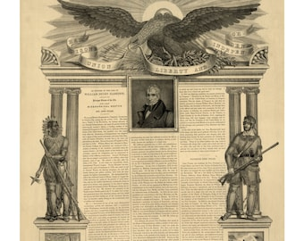 Harrison, Union, Liberty, and Independence - Vintage Art Print - Victorian Antique 1800's Americana - Curiosities - Historic Paper Ephemera