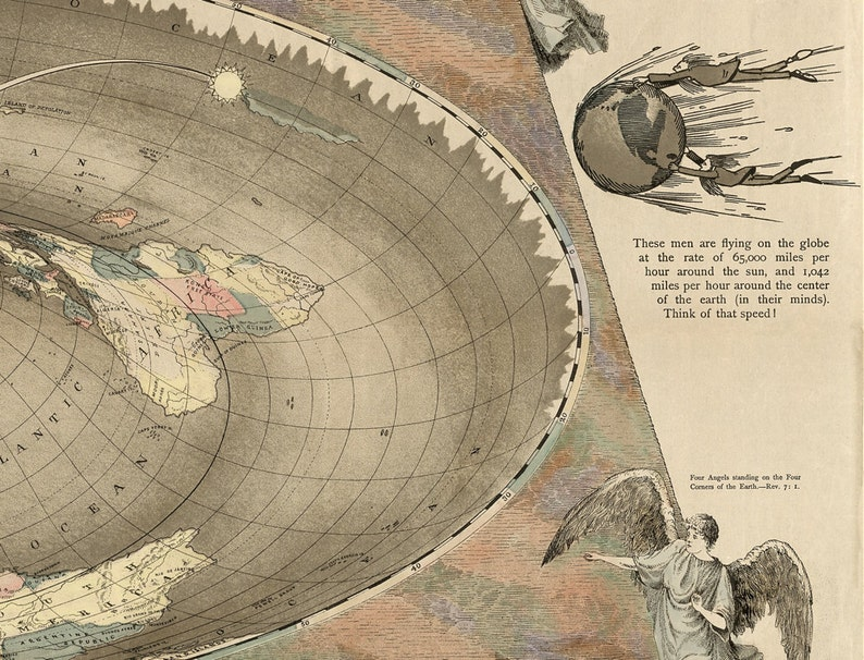 Flat Earth Map Of The Square And Stationary Earth Old Maps Etsy