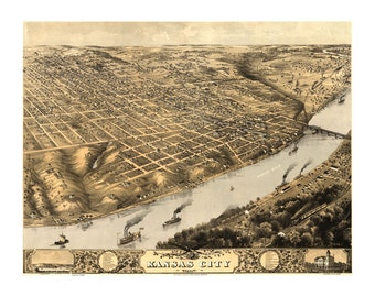 1869 Map of Kansas City Missouri - Old Maps and Prints - Vintage Art Print - Antique Birds Eye City Map - History Gift - Historic Americana