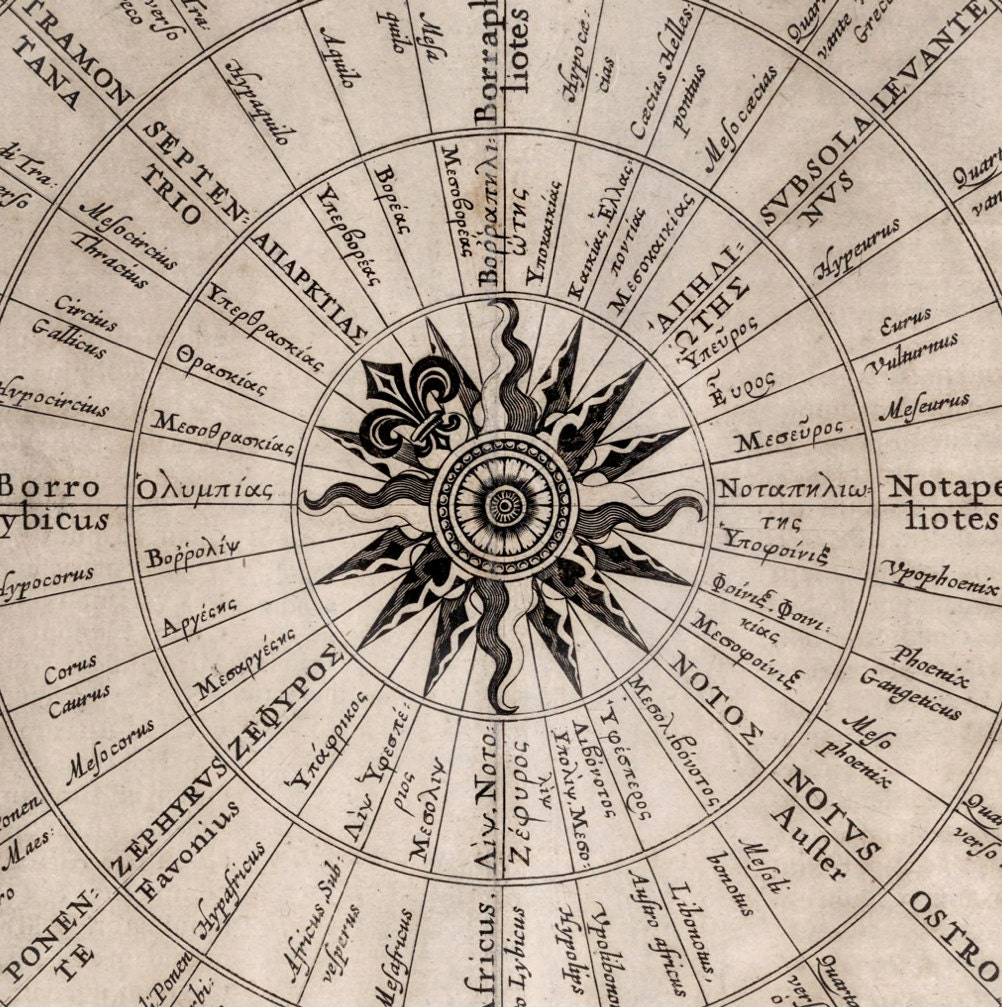 Map of the Winds Compass Rose Chart - Vintage Nautical Art ...