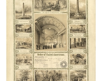 Order of United Americans - Vintage Art Print - Victorian Antique Document - 1800's Americana - Curiosities - Fraternal Society Certificate