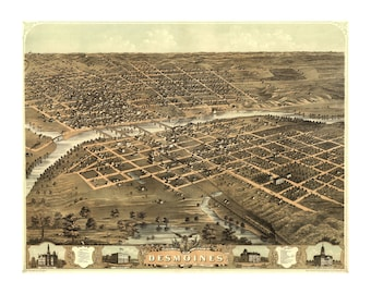 1868 Map of Des Moines Iowa - Old Maps and Prints - Vintage Art Print - Antique Birds Eye City Map - History Gift - Americana - Historic Map