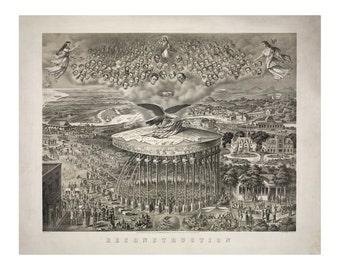 Reconstruction - Vintage Art Print - Victorian Antique History - 1800's Americana - Curiosities - Patriotic Ephemera - Universal Equality