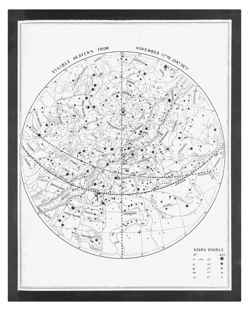 Visible Heavens 04 Constellation Celestial Chart  Astronomy GREY