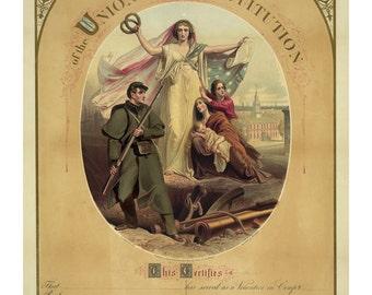 In Defence of the Union - Vintage Art Print - Victorian Antique Document - 1800's Americana - Certificate - Patriotic Paper Ephemera