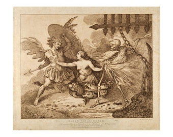 Satan, Sin, and Death - Paradise Lost - Vintage Religious Art - Antique Decor - Old Maps and Prints - Fine Art Giclee - Biblical Wall Art