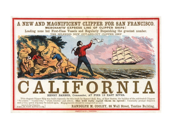 Clipper Ship California Advertisement Vintage Ads Gold Etsy