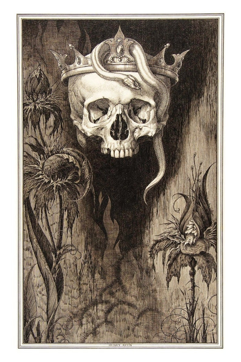 Death Skeleton Skull and Flowers Decor    Momento Mori Art image 0