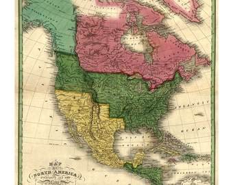1826 Map of North America - Old Maps and Prints - Vintage Art Print - Antique US Map - Americana - United States Historic Map Art