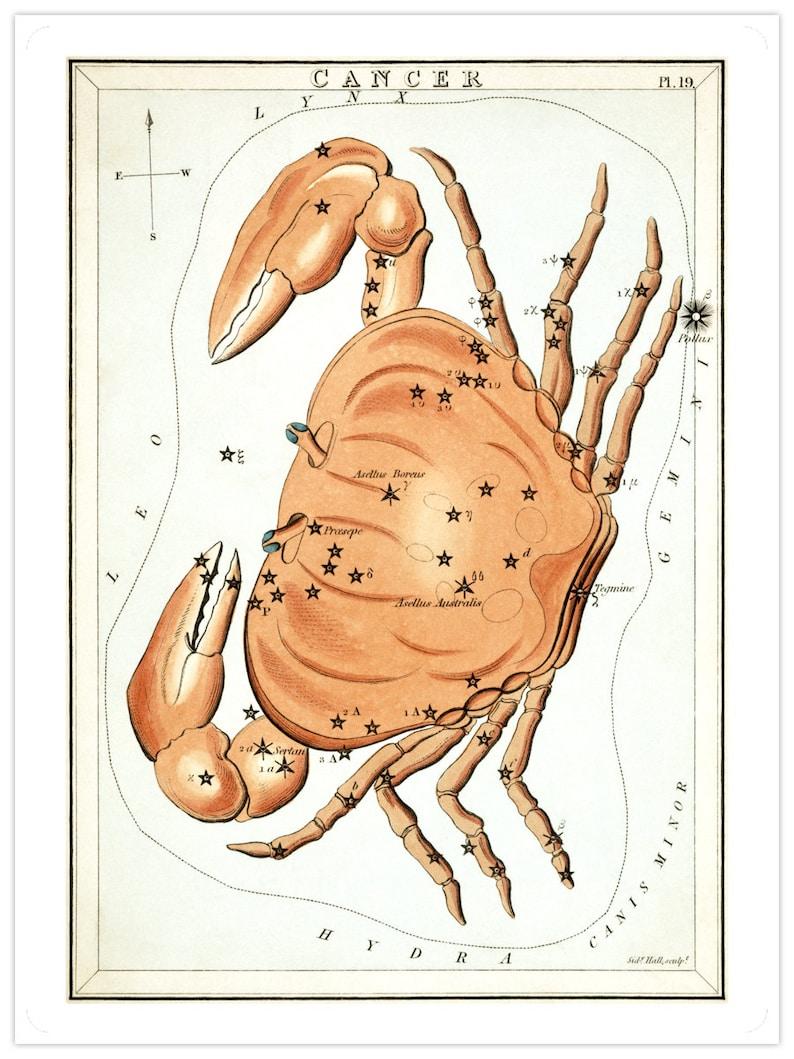 Cancer Vintage Zodiac Sign Astrological Art Print image 0