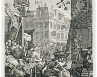 Hogarth's Beer Street Antique Art Print - Bar Decor - Gifts For Men - Vintage Inspired Home Decor - Old Maps and Prints - Fine Art Giclee