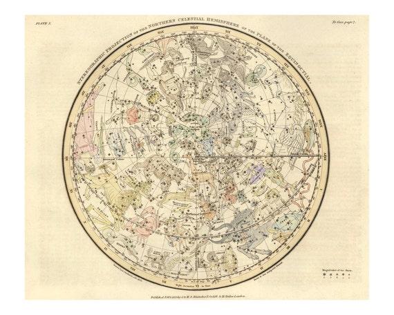 Northern Hemisphere Constellation Celestial Map Astronomy