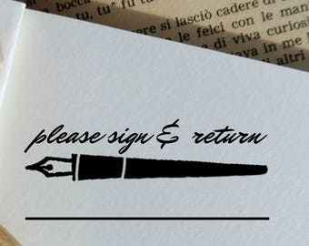 Please Sign and Return Stamp,Teacher Gift Idea,Back to School Ready to Ship Rubber Stamp  -0822290817-