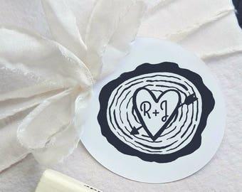Wood Slice Wedding Stamp, Customizable Wedding Rubber Stamp, Hand Drawn Ink Stamp, Monogram Wedding Stamp  -1303091116-