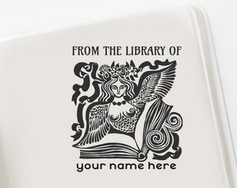Nike Custom Bookplate, Greek Mythology Custom  Ex libris, Book Lovers Gift, Customizable Bookplate, Library stamp -1647260520-