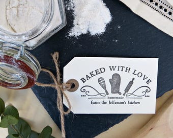 Baked With Love Custom Stamp, Baking Rubber Stamp, From The Kitchen of Stamp, Cooking Custom Stamp, Rubber Lable Stamp  -1619131217-