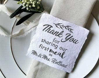 Personnalisé Rustique Mariage Faveur étiquettes-Merci pour le partage de notre premier repas