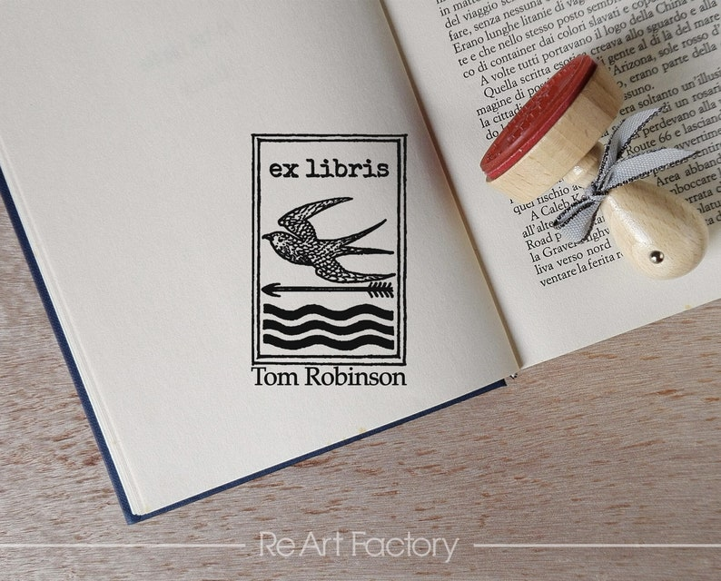Stempel  -2217150318- Book Custom Stamp Timbro Booklovers Gift Idea Library Custom Stamp Bird Custom Ex Libris Custom Rubber Stamp