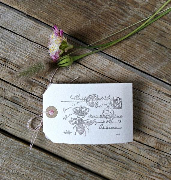 Estampillé blush ruban de soie rose carte postale postale carte Vintage à la main, garniture de mariage de ruban de soie Vintage, Shabby Chic clair ruban de soie rose-1827220418- fb48b5