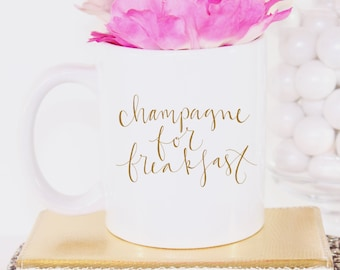 Champagne for Breakfast Illustrated Ceramic Coffee Mug Cup Drink