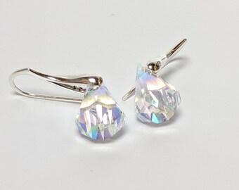 38e10577a Clear Crystal Drop Earrings/ Crystal Dangle Earrings/Raindrop Earrings/Swarovski  Crystal Earrings Aurora Borealis AB Earrings/Solid Silver