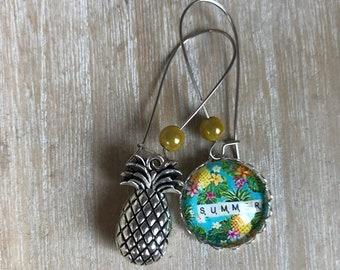 Earrings asymmetrical cabochon 20mm pineapple