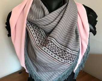 Pink and gray scarf with fringe