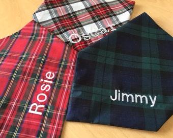 New! Personalised Handmade Christmas Tartan Bandanas, 100% Cotton, Royal Stewart Dress Stewart and Black Watch All sizes Free P& P
