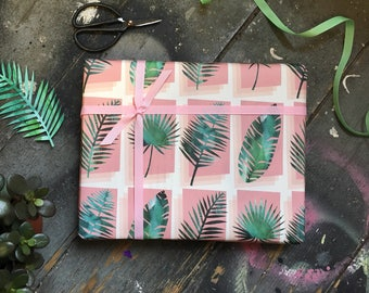 Tropical Palm print wrapping paper set