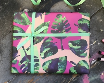 Tropical Monstera wrapping paper set