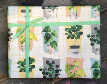 Botanical Wrapping Paper Set in House Plant Print