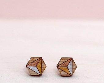 Stud Earrings -  Hexagon Earrings – Geometric Earrings - Valentines gift for girlfriend - gift for wife - bridesmaid gift - painted earrings