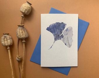 Ginkgo leaf notecard - Batik style - eco friendly notelet