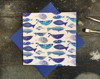 Ocean Birthday Card - Fishing Card - Birthday Card for Dad - Watercolour Birthday Card - Fish notecard