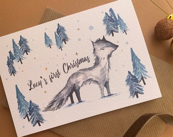 Personalised baby's first Christmas card with Arctic Fox and Christmas tree illustrations