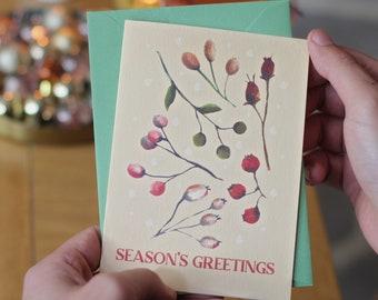 Vintage Botanical Christmas Card - Pastel Christmas set of cards- Winter Berries Vintage Holiday Card