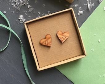 Scandi style Christmas heart shaped wooden stud earrings.
