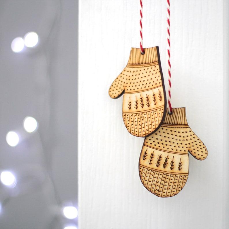 Nordic Fir Tree Mitten Decorations  Wooden Mitten Christmas image 0