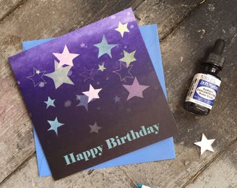 Star birthday card - birthday card for friend- card for children- space birthday -birthday card for girl - card for boy - astronomy card